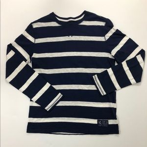 Express Blue White Striped Fitted Long Sleeve Top